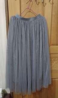 灰色 長裙 紗裙