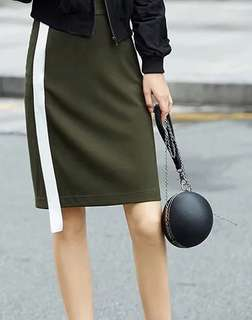 Army Green Midi Pencil Skirt