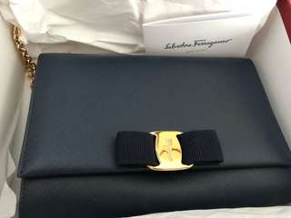 Authentic Salvatore Ferragamo oxford blue calf crossbody bag