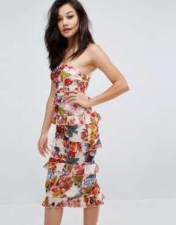 Floral Tiered Ruffles Midi Dress