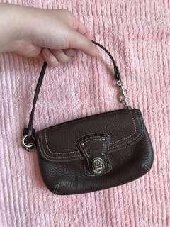 COACH brown leather mini zipper purse/bag. Second hand