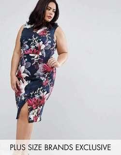 #039 💋3D Floral Plus Size Dress