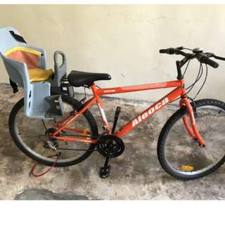 Almost New Aleoca 5 gear cycle with baby seat