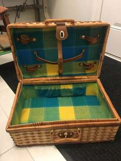 Wicker vintage picnic basket for a cute date