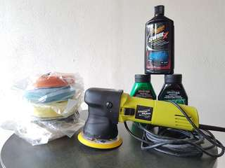 Dual action polisher w/ polishing pad turtle compound meguiars swirl x