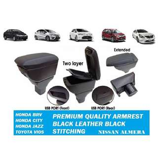 Premium Quality Double Layer Adjustable Arm Rest for HONDA / Toyota With USB Port