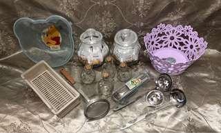 水果籃米奇小盆湯勺漏調味油罐筷子盒和其他全新💐有三種水果籃顏色選