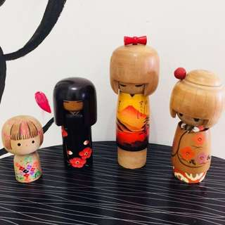 JAPAN KOKESHI WOODEN DOLL SET