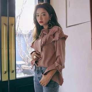 Stylenanda inspired ruffle pink blouse