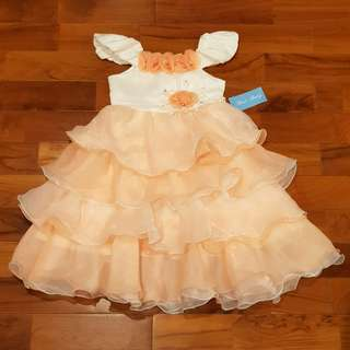 Girl dress ruffle peach