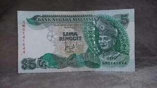Duit lama, old notes Rm5 keluaran siri ke-6 Malaysia #Ramadan50