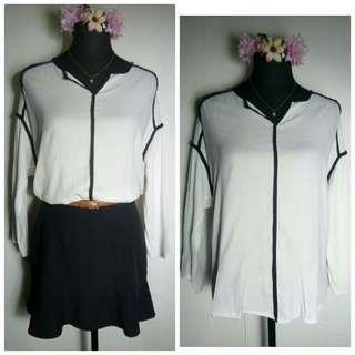 white black formal polo blouse