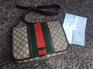 Authentic Gucci PVC Classic Messenger Bag Unisex