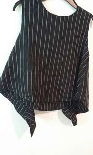 black coloured strips top and pants