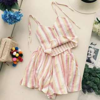 (PO) Two-piece Striped Set