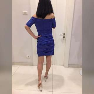 Nicole Miller bodycon royal blue ruched dress