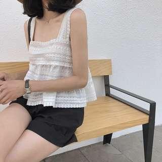 IOZ 小清新蕾絲鈎花白背心