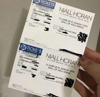 2 LOWER BOX TICKETS NIALL HORAN MANILA