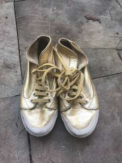 Vintage Gold Spring Court Sneakers Trainers Shoes