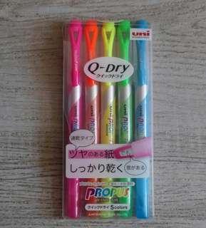 5色螢光筆 日本 三菱 uni