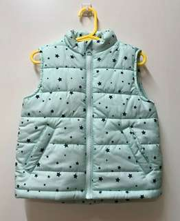 Girls Mint Green Puffer Vest With Navy Stars - Size 3