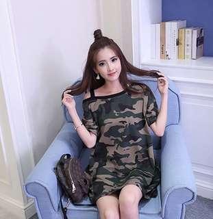 BN Korean Off Shoulder Army Top