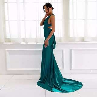 Emerald Green Satin Formal Dress