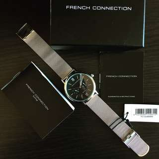 NEGOTIABLE ~Brand New FCUK 42mm Silver Black Stainless Steel Watch