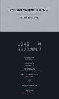 [Extra stock]Bts tear album unsealed w/o pc