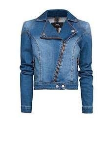Mango Washed denim biker jacket