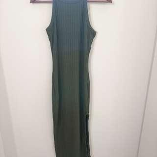 Khaki bodycon dress with split