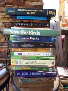 Assorted textbooks and pocketbooks