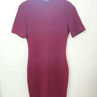 Maroon bodycon mini dress