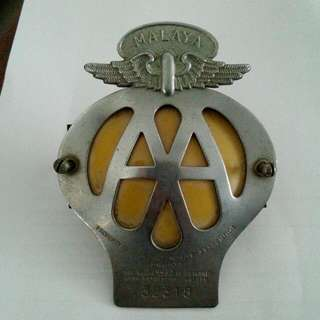 Automobile Association AA Malaya Car Badge Vintage 2