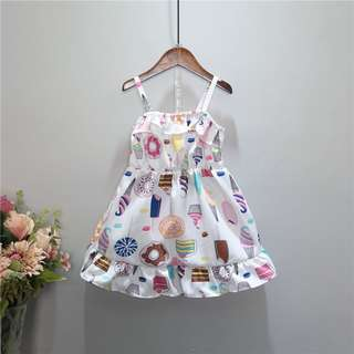 White Dress with little cakes print