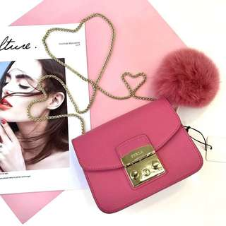 Furla Metropolis latest pastel fur ball collection - hot pink