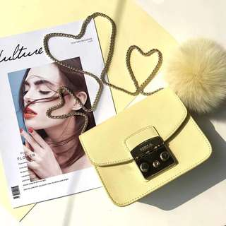 Furla Metropolis latest pastel fur ball collection - lemon yellow
