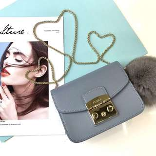 Furla Metropolis latest pastel fur ball collection - blue