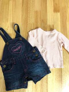 Denim Overall wt blouse