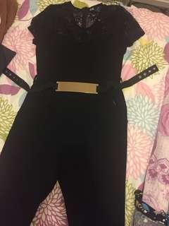 Black long jumpsuit (lace shoulders)