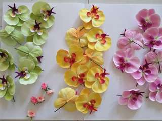 Fabric flowers. Yellow pink green fake orchid