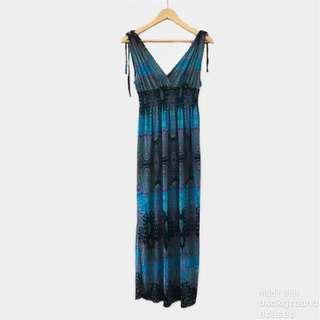 Printed blue maxi dress