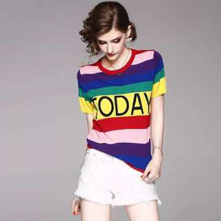 Knitted multiple coloured striped t shirt top