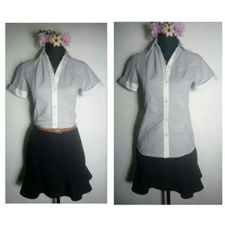 formal stripes polo blouse