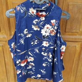 Shoulder Cut Out Blouse Blue Floral
