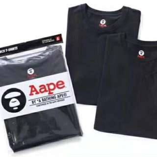 Aape tee(2 in pack) in blk or white
