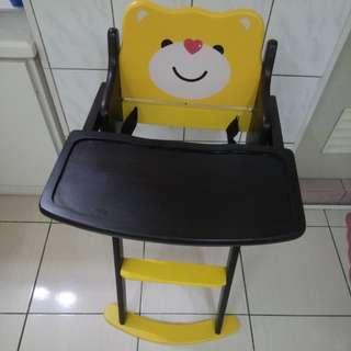 可愛小熊木餐椅