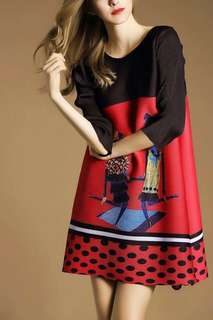 3D cartoon print dress