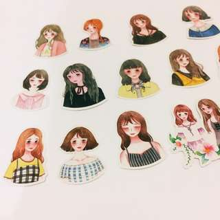 Set 1 : 14 pieces of pretty girl stickers