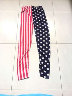 Leggings America themed red white blue with stars